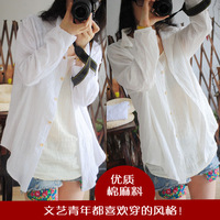 Female endulge autumn fluid white cardigan shirt female long-sleeve shirt female