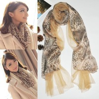 Quality 2013 organza lace double layer leopard print splice warm scarf shawl for women