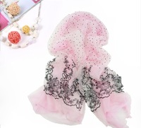 Organza new arrival lengthen lace polka dot autumn and winter double layer girls scarf 2014 fashion women Shawl/Wrap