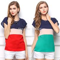 2014 korean new fashion women summer and spring t shirt plus size chiffon color patch casual tops chifon blusas femininas camisa