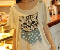 Summer Women's Japanese Style women's Lovely Cat With Blue Scarf Loose Short Sleeve Shirt