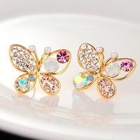 2014 New Fashion Brand Crystal Earrings for Women Butterfly Shaped Multicolor Rhinestone Stud Earrings with Simulated Pearl Hot