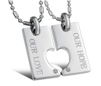 New Arrival Couple set Jewelry His and Hers Matching Set Titanium Our Hope Heart Pendant Necklace Korean Love Heart Matches