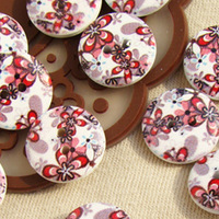 400Pcs  Flowers Painted Pattern 15mm  Rustic Plaid DIY Accessories Small Flat Back Wooden Garment Buttons No. B8
