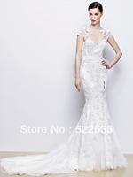 Free Shipping Sexy Charming Mermaid Scoop Short Sleeves Lace Beading Brush Train Luxury Wedding Dresses 2014 Plus Size