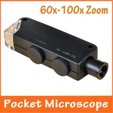 Nueva 60x-100x del foco del zumbido LED iluminado microscopio del bolsillo con luz agarradera lámpara lupa valoración de la joyería microscopio