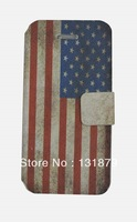 Retro USA UK Flag Pattern Flip Holster Leather Case For iPhone 5 5S Free shipping Wholesale 50pcs lot