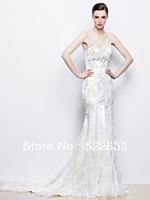 Free Shipping Sexy Charming Mermaid Straps V-neck Lace Beading Brush Train Luxury Wedding Dresses 2014 Plus Size