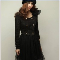 Autumn Korean cheap fireworks waist double-breasted cashmere lace dress stitching,free shipping,wholesale price,one day leading