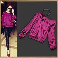 Hot!Hot!2013 High Fashion Women One-shoulder Lantern Sleeve Designer Blouses Chic Purple Tops SS13279
