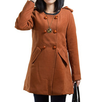 2013 slim long design o-neck solid color women's all-match woolen outerwear female