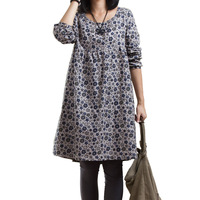 autumn long-sleeve loose plus size o-neck pullover 100% cotton long design small one-piece dress female