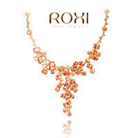 ROXI Costly Champagne color Ladies Necklace platinum plated with AAA zircon,fashion Pure manual mosaic Jewelry,GSN003