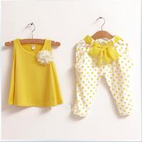 Retail NEW design 2013 new children's clothing summer set child flower female vest polka dot harem pants twinset girls clothes