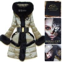 Stunning!!Hign-end Fashion Europe Style Luxury  Fox Fur Collar And Fur Bordered  Slim Down Coats Warm Parkas F15242