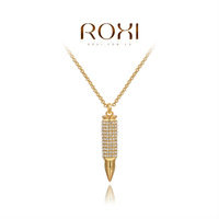 ROXI Christmas Gift Classic Genuine Austrian White Crystals Fashion Luxury Link Chain Necklace Bullet Shape 18K Big OFF Party