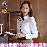 Free shipping! 2013 summer plus size women's shirt ol slim long-sleeve chiffon basic shirt casual shirt