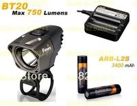 Free shipping Fenix BT20 750 LUMEN  Bike Light +Fenix ARE-C1 charger (Car Plugs)+ARB-L2S 3400 mah 18650 li battery 2 Pcs