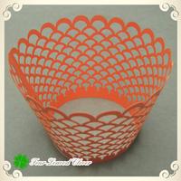 Free Shipping100pcs/lot Orange Fish Scale Laser cut cupcake wrappers,Cupcake cases,Cupcake toppers wedding,Cupcake packaging box