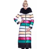 New Arrival Hign-end Fashion European Style Luxury Raccoon Fur Multicolor Stripes Down Coats Extra Long Parkas F15283