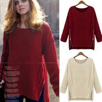 Women's medium-long batwing shirt thick loose sweater ,outerwear sweater free shipping
