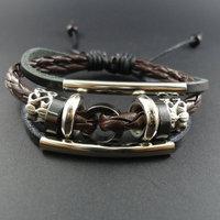 2014 new arrival trendy vintage Men Genuine Wrap Leather Cuff  Bracelets &  Bangles Jewelry for women 2013