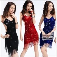 women  sexy   Latin dance clothes tassel paillette elastic nobody jazz dance costume  dresses  free  shipping