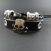 2014 new arrival trendy vintage Skull Skeleton Charm Genuine Wrap Men Leather Bracelets &  Bangles Jewelry for women