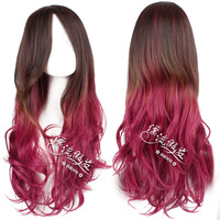 HOT!!GOOD QUALITY! Cosplay wig pink brown blended-color gradient HARAJUKU amo curly hair bangs