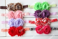 Baby Girl boutique double shabby flower headband rosette flower Foe headband 82colors 120pcs EMS WITH FREE SHIPPING