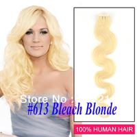 New star hair #613 Bleach Blonde malaysian body wave skin weft tape hair extensions malaysian virgin hair 20.22.26inch 40 Piece