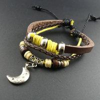 2014 new trendy Korean vintage Wooden Beads Moon Star Charm Genuine Wrap Cuff Leather Bracelets & Bangles Jewelry for men women