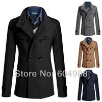 Men Double Breasted Trench Pea Coat Jacket Overcoat Coat Tops Outwear