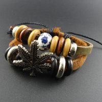 2014 new trendy Korean Wood Ceramic Beads Maple Leaves Charm Genuine Wrap Cuff Leather Bracelets & Bangles Jewelry for men women
