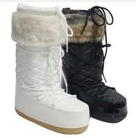 Moon space platform snow boots ,female wool medium-leg flat heel round toe boots,women snow shoes