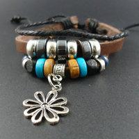 2014 new trendy Korean Wood Beads Flower Charm Genuine Wrap Leather Cuff Bracelets & Bangles Jewelry for men women