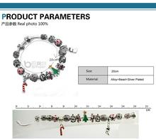Dropshipping Christmas Element Strand Love Bracelet 925 Silver Murano Glass For Women Fashion European Bamoer Jewelry