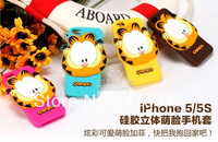 Free Shipping! 1pcs Newest 3D stereo cartoon cute Garfield silicone case for iphone 5 5S