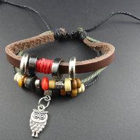2014 new trendy fashion Korean Wood Beads Owl Charm Men's Genuine Wrap Cuff Leather Bracelets & Bangles Jewelry for women