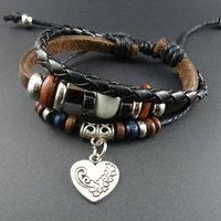 2014 new trendy vintage Ceramic Beads Men Genuine Wrap Cuff Leather Love Heart Charm Bracelets & Bangles Jewelry for women