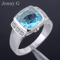 Jenny G Brand Jewelry Size 8-12 Square Blue Aquamarine Crystal Stone 10KT White Gold Filled Ring
