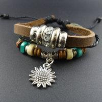 2014 new trendy vintage Ceramic Beads Men Genuine Wrap Cuff Leather Sun Flower Charm Bracelets & Bangles Jewelry for women