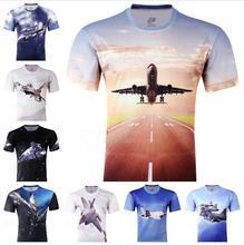 wholesale 2014 new fashion men 3d t shirt summer fighting plane printing 3D t-shirts free shipping