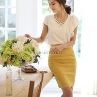 W7Tn Lady High Waist Pencil Tight Skirt Bag Hip Knee Length Chic Yellow S