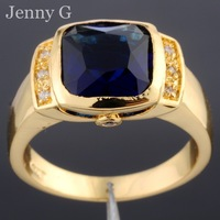 Jenny G Brand Jewelry Blue Square Sapphire Crystal Stone 10KT Yellow Gold Filled Ring for Men Women Size 8-12