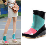 Spring women's fashion flat heel rain shoes rain boots plus size jelly knee-high rainboots water shoes female shoes