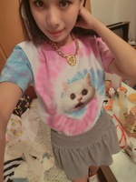 Free Shipping Harajuku product tie-dyeing short t short-sleeve female HARAJUKU gradient skateboard o-neck cat soft