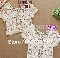 New Black  ,White Summer Lace Hollow Small waistcoat  Vest Crochet waistcoat Free shipping FZ 26