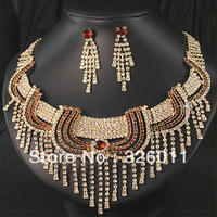 Free shopping 2013 New style coffee color Necklace Earring sets Shiny Gorgeous Wedding Jewelry sets Rhinestone Bridal sets