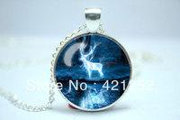 10pcs/lot Harry Potter Patronus, Expecto Patronum Necklace Glass Cabochon Necklace